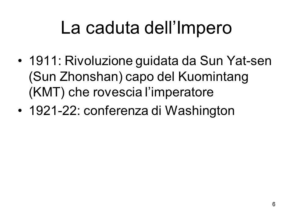 6 La caduta dellImpero 1911: Rivoluzione guidata da Sun Yat-sen (Sun Zhonshan) capo del Kuomintang (KMT) che rovescia limperatore 1921-22: conferenza