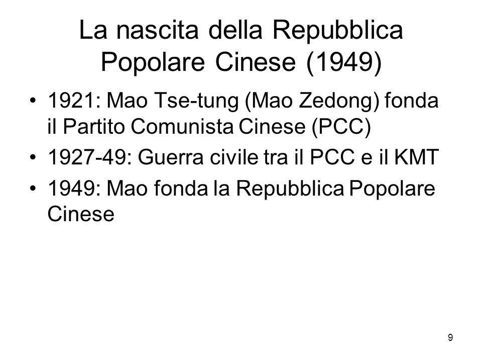 9 La nascita della Repubblica Popolare Cinese (1949) 1921: Mao Tse-tung (Mao Zedong) fonda il Partito Comunista Cinese (PCC) 1927-49: Guerra civile tr