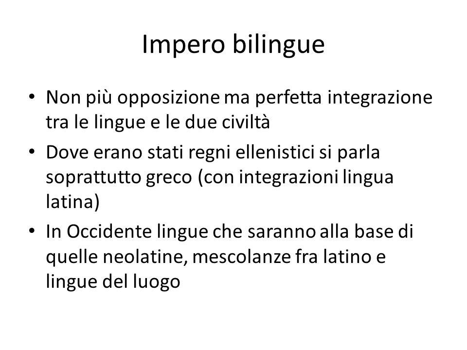 Impero bilingue Non più opposizione ma perfetta integrazione tra le lingue e le due civiltà Dove erano stati regni ellenistici si parla soprattutto gr