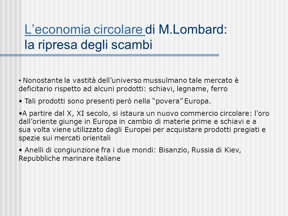 Leconomia circolare Leconomia circolare di M.Lombard: la ripresa degli scambi Nonostante la vastità delluniverso mussulmano tale mercato è deficitario