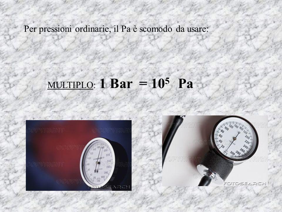 Per pressioni ordinarie, il Pa è scomodo da usare: MULTIPLO: 1 Bar = 10 5 Pa