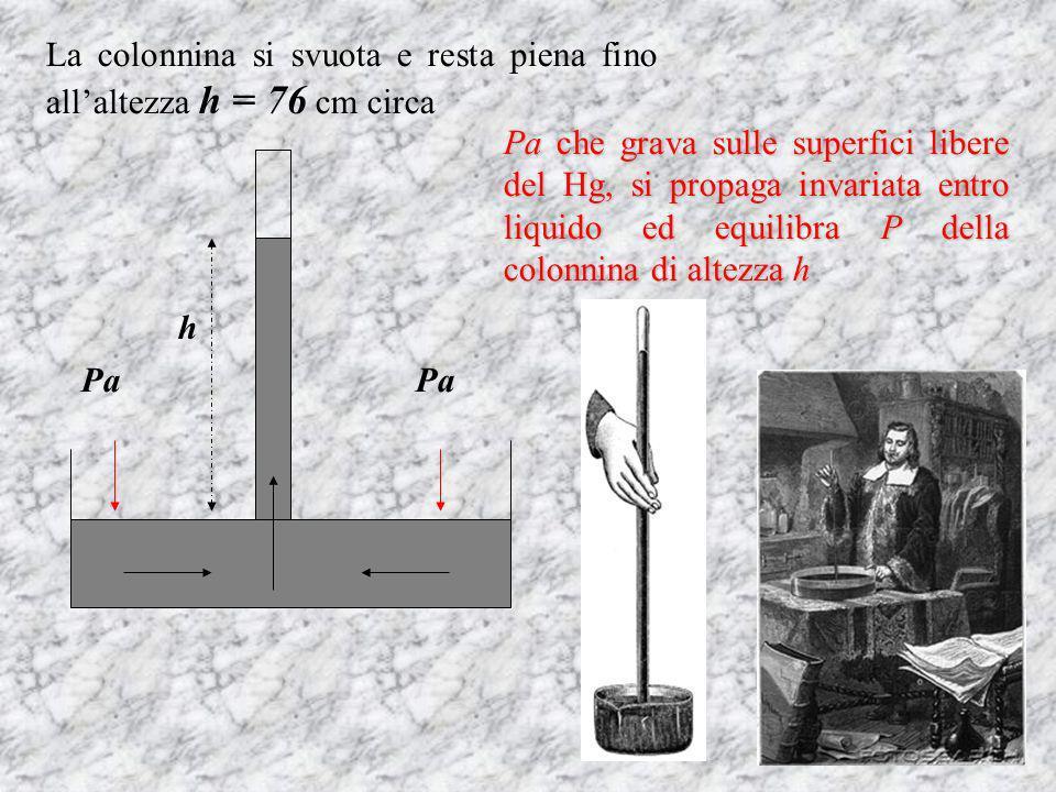h Pa La colonnina si svuota e resta piena fino allaltezza h = 76 cm circa Pa che grava sulle superfici libere del Hg, si propaga invariata entro liquido ed equilibra P della colonnina di altezza h