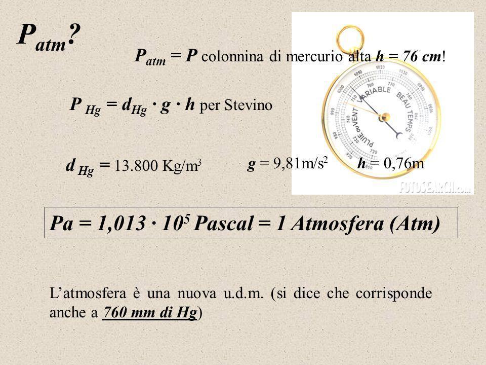 P atm . P atm = P colonnina di mercurio alta h = 76 cm.