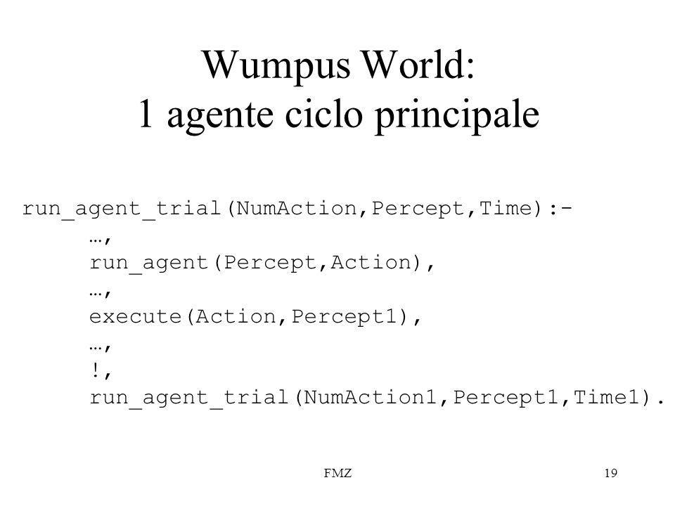 FMZ19 Wumpus World: 1 agente ciclo principale run_agent_trial(NumAction,Percept,Time):- …, run_agent(Percept,Action), …, execute(Action,Percept1), …, !, run_agent_trial(NumAction1,Percept1,Time1).