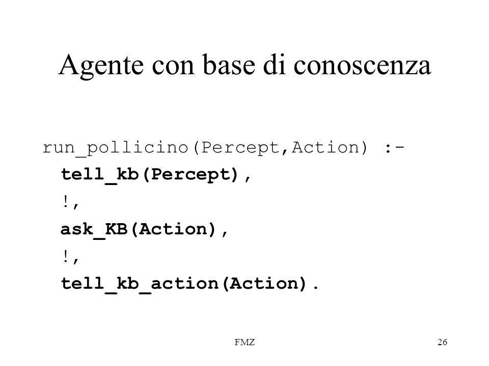 FMZ26 Agente con base di conoscenza run_pollicino(Percept,Action) :- tell_kb(Percept), !, ask_KB(Action), !, tell_kb_action(Action).