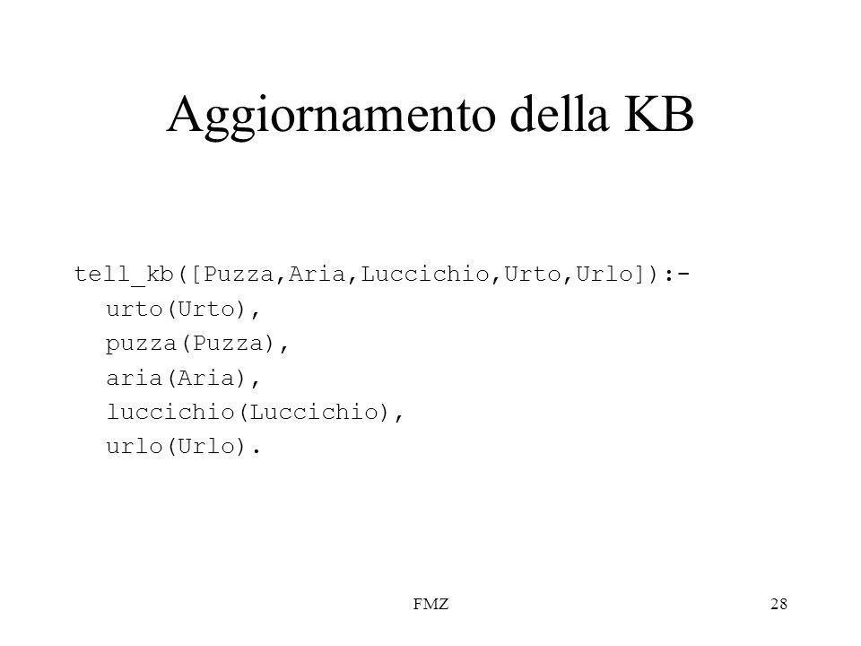 FMZ28 Aggiornamento della KB tell_kb([Puzza,Aria,Luccichio,Urto,Urlo]):- urto(Urto), puzza(Puzza), aria(Aria), luccichio(Luccichio), urlo(Urlo).