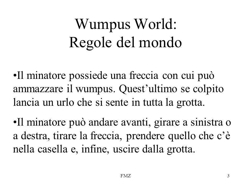 FMZ3 Wumpus World: Regole del mondo Il minatore possiede una freccia con cui può ammazzare il wumpus.