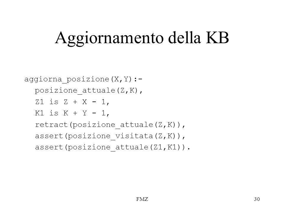 FMZ30 Aggiornamento della KB aggiorna_posizione(X,Y):- posizione_attuale(Z,K), Z1 is Z + X - 1, K1 is K + Y - 1, retract(posizione_attuale(Z,K)), assert(posizione_visitata(Z,K)), assert(posizione_attuale(Z1,K1)).