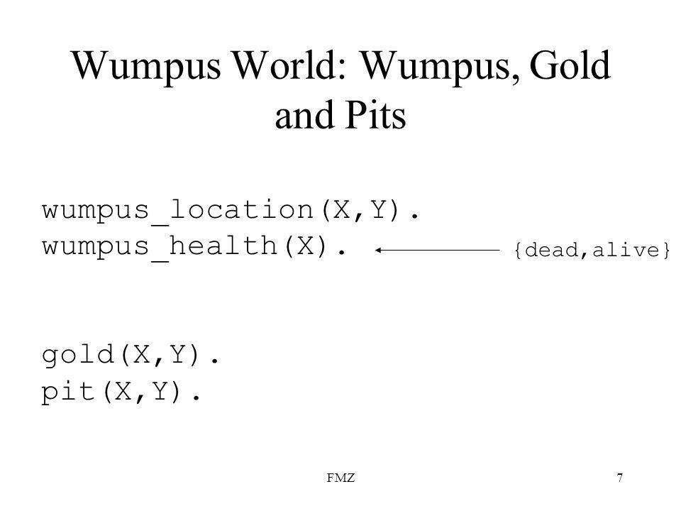 FMZ7 Wumpus World: Wumpus, Gold and Pits wumpus_location(X,Y).