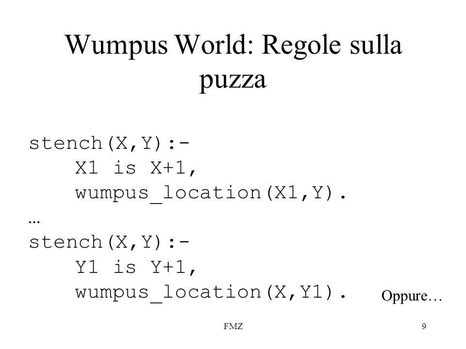 FMZ9 Wumpus World: Regole sulla puzza stench(X,Y):- X1 is X+1, wumpus_location(X1,Y).