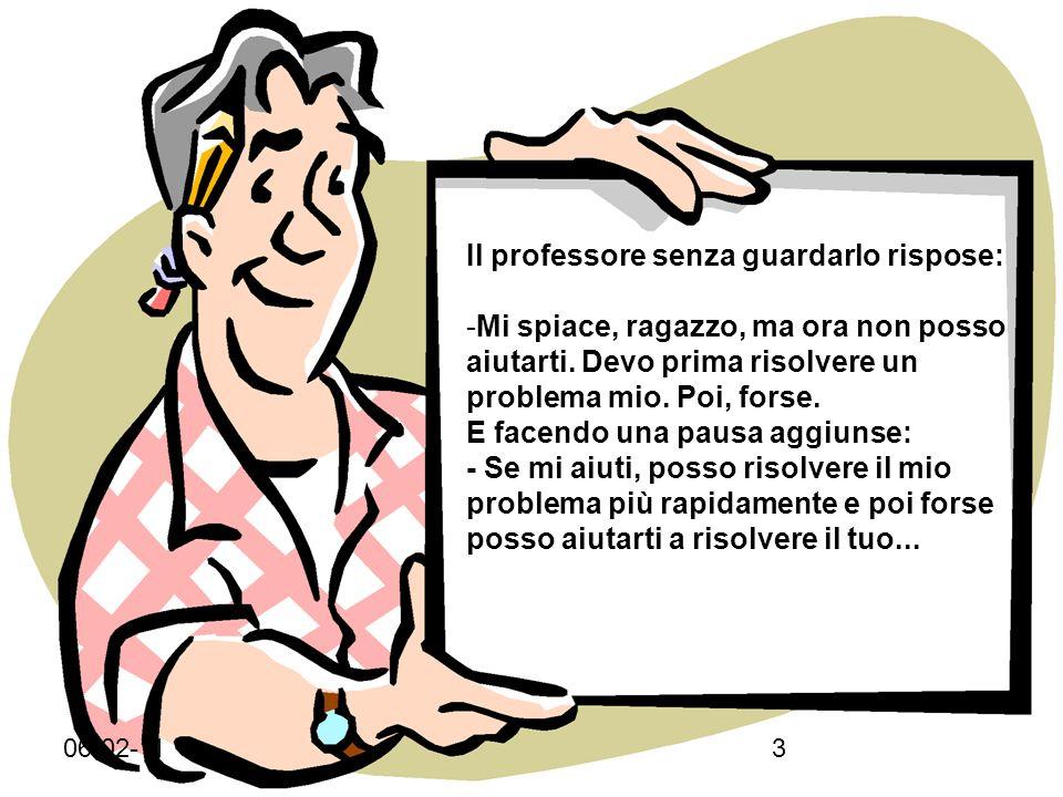 06-02-112 Uno studente andò dal suo professore con un problema: - Mi sento una nullità, non ho la forza di reagire.