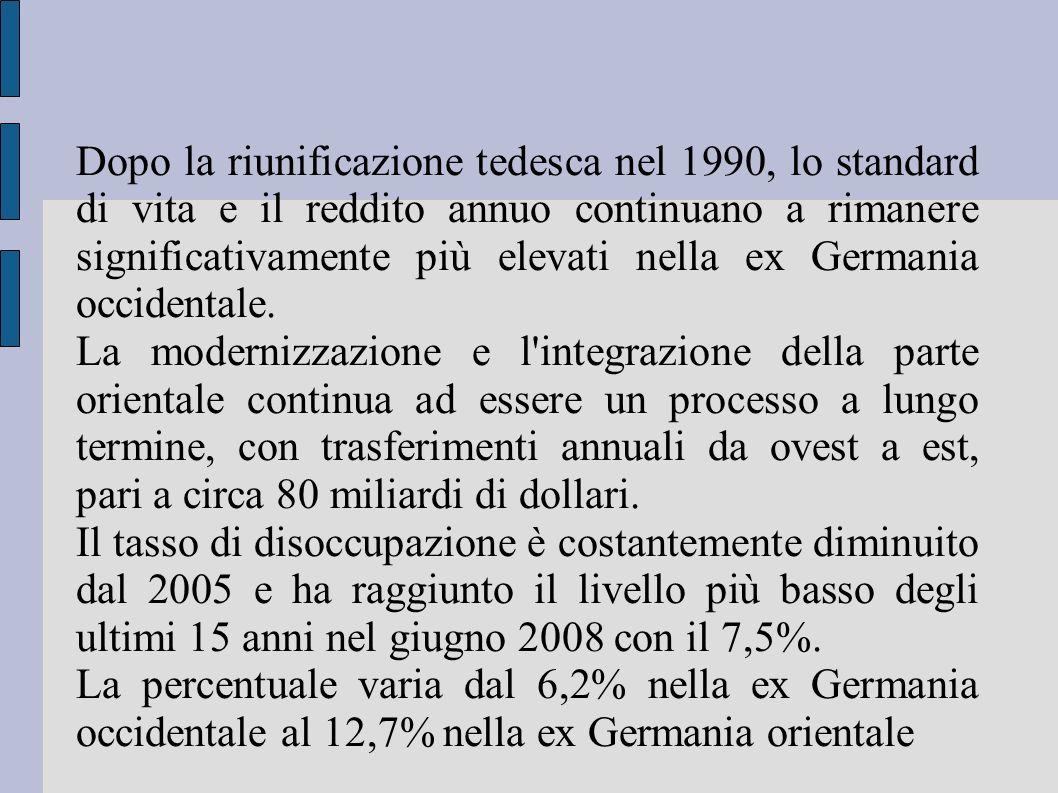 Dopo la riunificazione tedesca nel 1990, lo standard di vita e il reddito annuo continuano a rimanere significativamente più elevati nella ex Germania