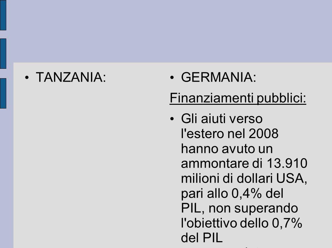 TANZANIA: GERMANIA: Finanziamenti pubblici: Gli aiuti verso l'estero nel 2008 hanno avuto un ammontare di 13.910 milioni di dollari USA, pari allo 0,4