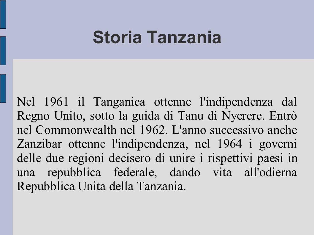 Storia Tanzania Nel 1961 il Tanganica ottenne l'indipendenza dal Regno Unito, sotto la guida di Tanu di Nyerere. Entrò nel Commonwealth nel 1962. L'an