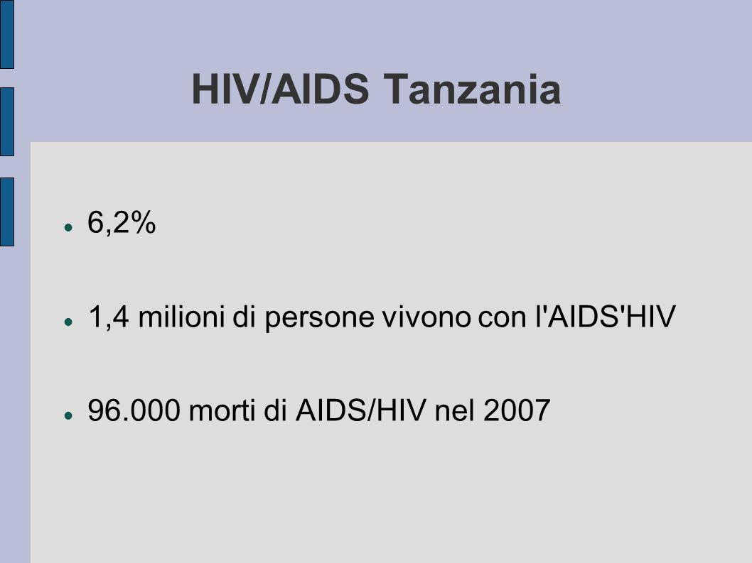 HIV/AIDS Tanzania 6,2% 1,4 milioni di persone vivono con l'AIDS'HIV 96.000 morti di AIDS/HIV nel 2007