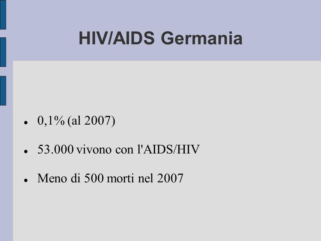 HIV/AIDS Germania 0,1% (al 2007) 53.000 vivono con l'AIDS/HIV Meno di 500 morti nel 2007