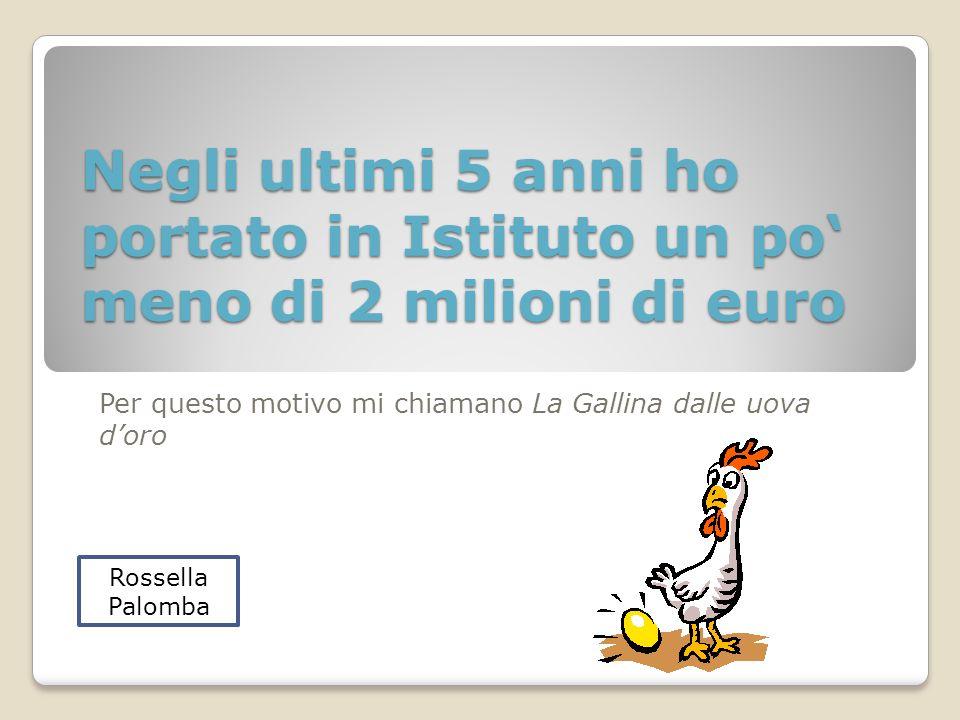 Negli ultimi 5 anni ho portato in Istituto un po meno di 2 milioni di euro Per questo motivo mi chiamano La Gallina dalle uova doro Rossella Palomba