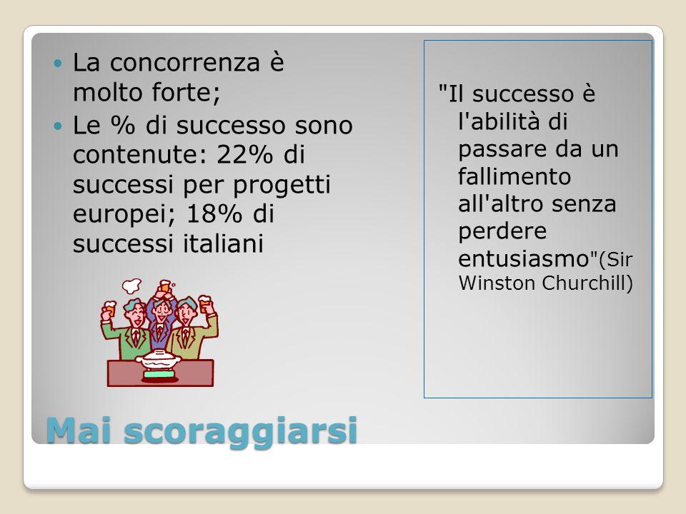 Mai scoraggiarsi La concorrenza è molto forte; Le % di successo sono contenute: 22% di successi per progetti europei; 18% di successi italiani Il successo è l abilità di passare da un fallimento all altro senza perdere entusiasmo (Sir Winston Churchill)