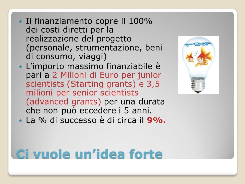 Ci vuole unidea forte Il finanziamento copre il 100% dei costi diretti per la realizzazione del progetto (personale, strumentazione, beni di consumo,