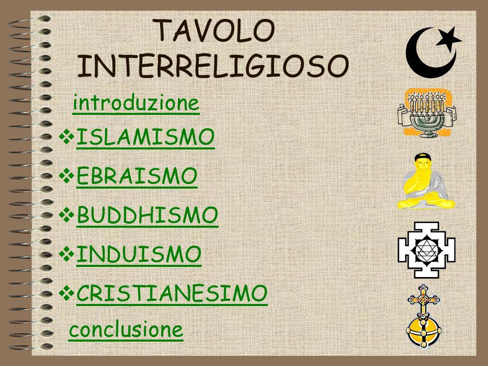 TAVOLO INTERRELIGIOSO ISLAMISMO EBRAISMO BUDDHISMO INDUISMO CRISTIANESIMO introduzione conclusione