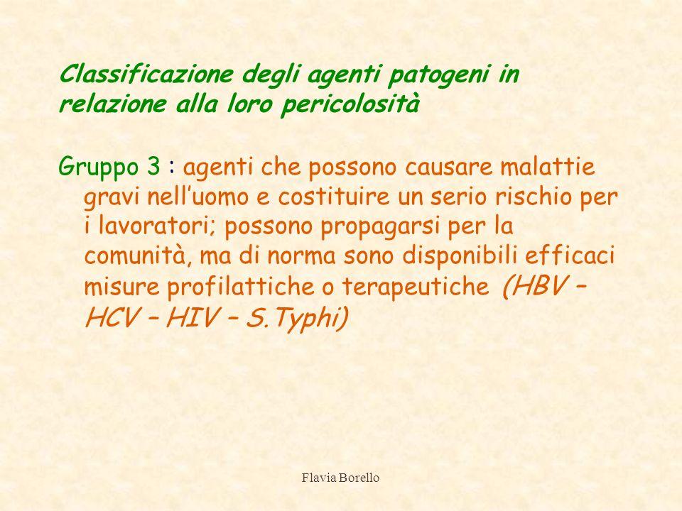 Flavia Borello Classificazione degli agenti patogeni in relazione alla loro pericolosità Gruppo 3 : agenti che possono causare malattie gravi nelluomo