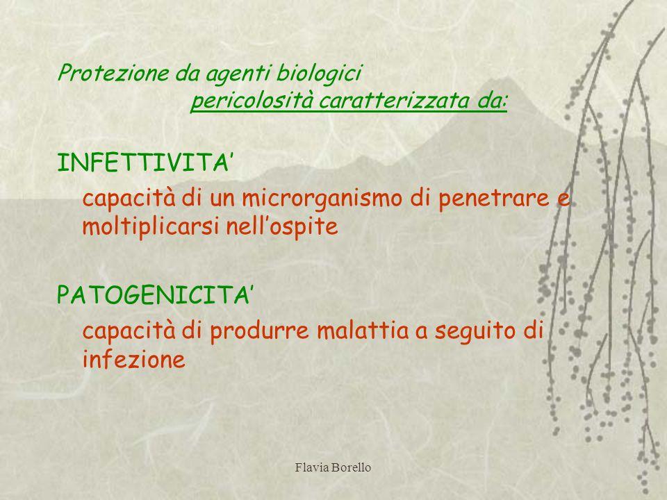 Flavia Borello Protezione da agenti biologici pericolosità caratterizzata da: INFETTIVITA capacità di un microrganismo di penetrare e moltiplicarsi ne