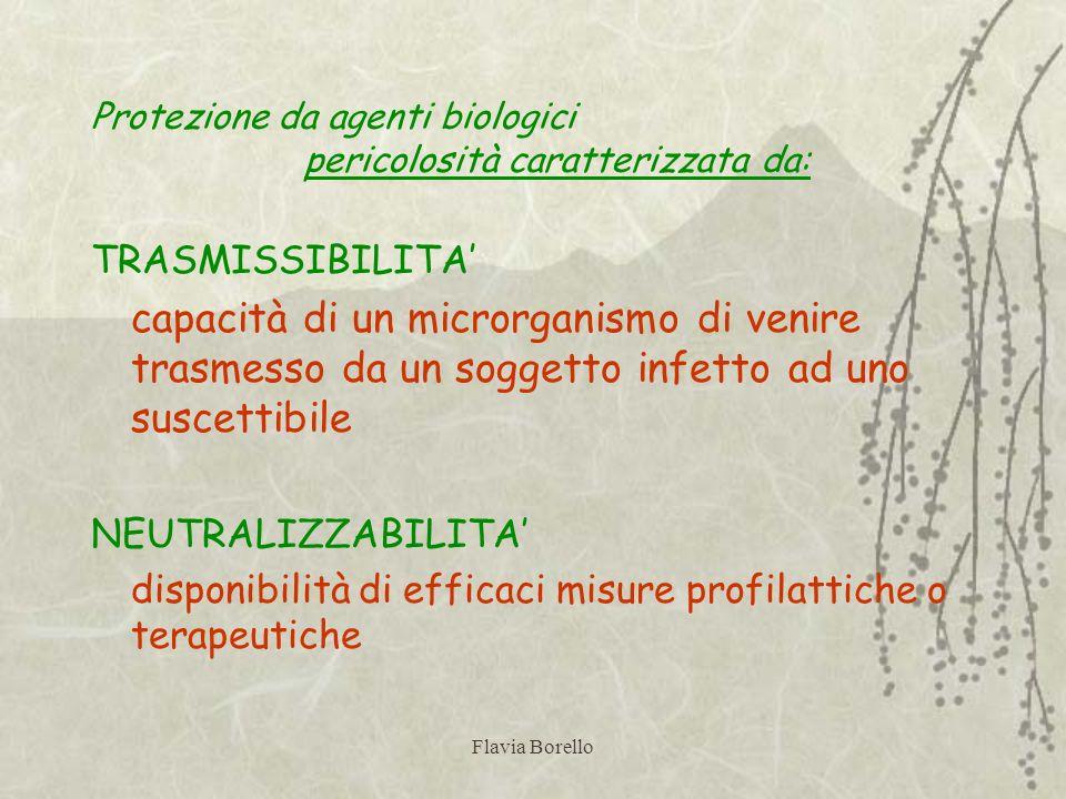 Flavia Borello Protezione da agenti biologici pericolosità caratterizzata da: TRASMISSIBILITA capacità di un microrganismo di venire trasmesso da un s