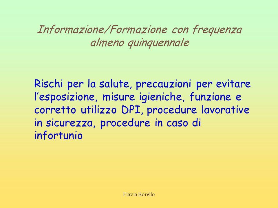 Flavia Borello Informazione/Formazione con frequenza almeno quinquennale Rischi per la salute, precauzioni per evitare lesposizione, misure igieniche,