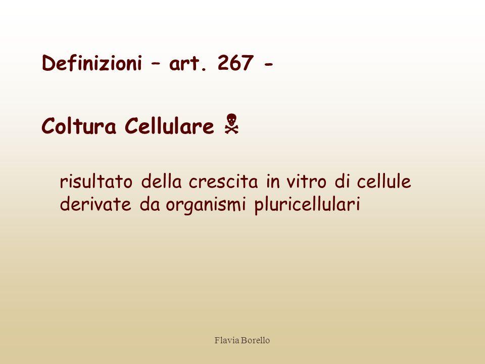 Flavia Borello Definizioni – art. 267 - Coltura Cellulare risultato della crescita in vitro di cellule derivate da organismi pluricellulari