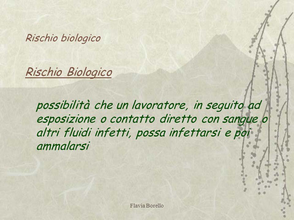 Flavia Borello Rischio biologico Rischio Biologico possibilità che un lavoratore, in seguito ad esposizione o contatto diretto con sangue o altri flui