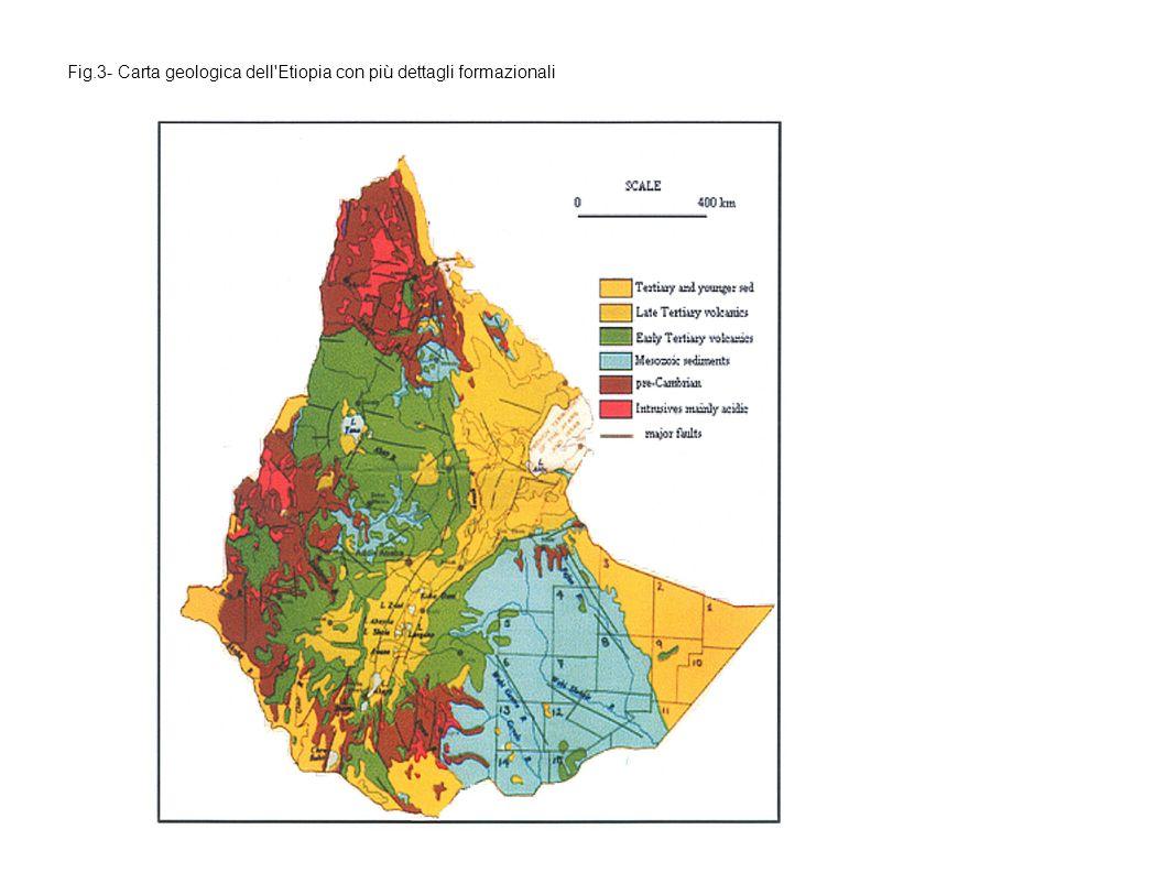 Fig.3- Carta geologica dell'Etiopia con più dettagli formazionali