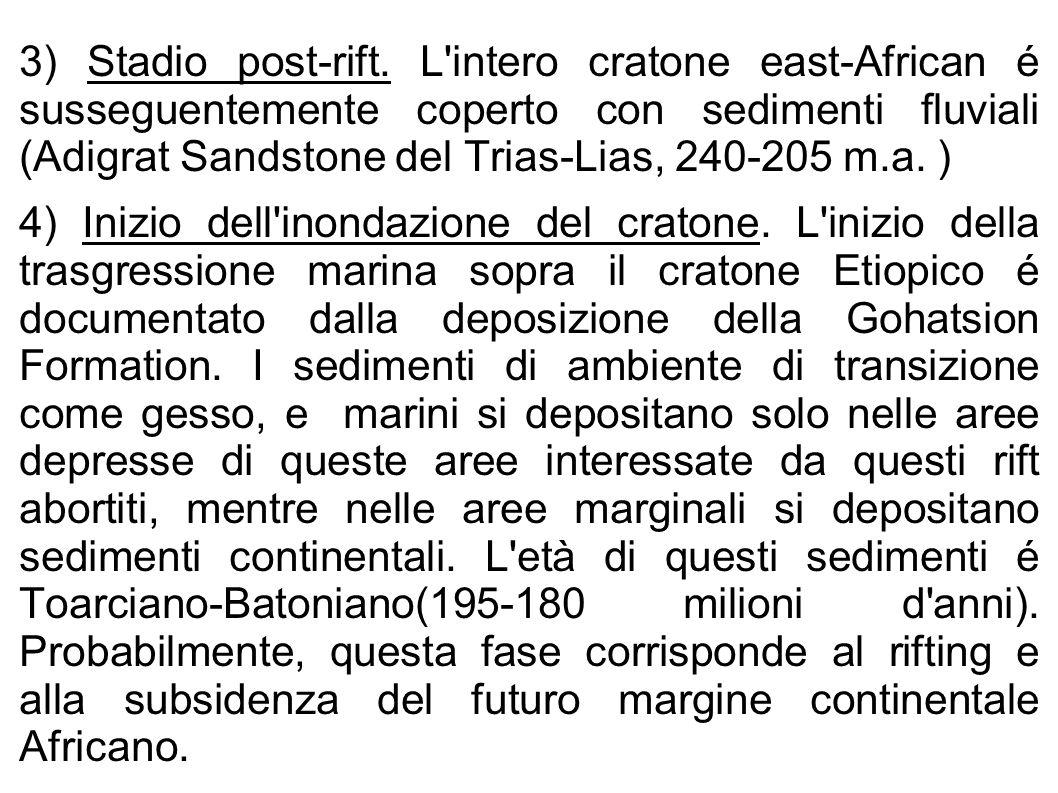 3) Stadio post-rift. L'intero cratone east-African é susseguentemente coperto con sedimenti fluviali (Adigrat Sandstone del Trias-Lias, 240-205 m.a. )