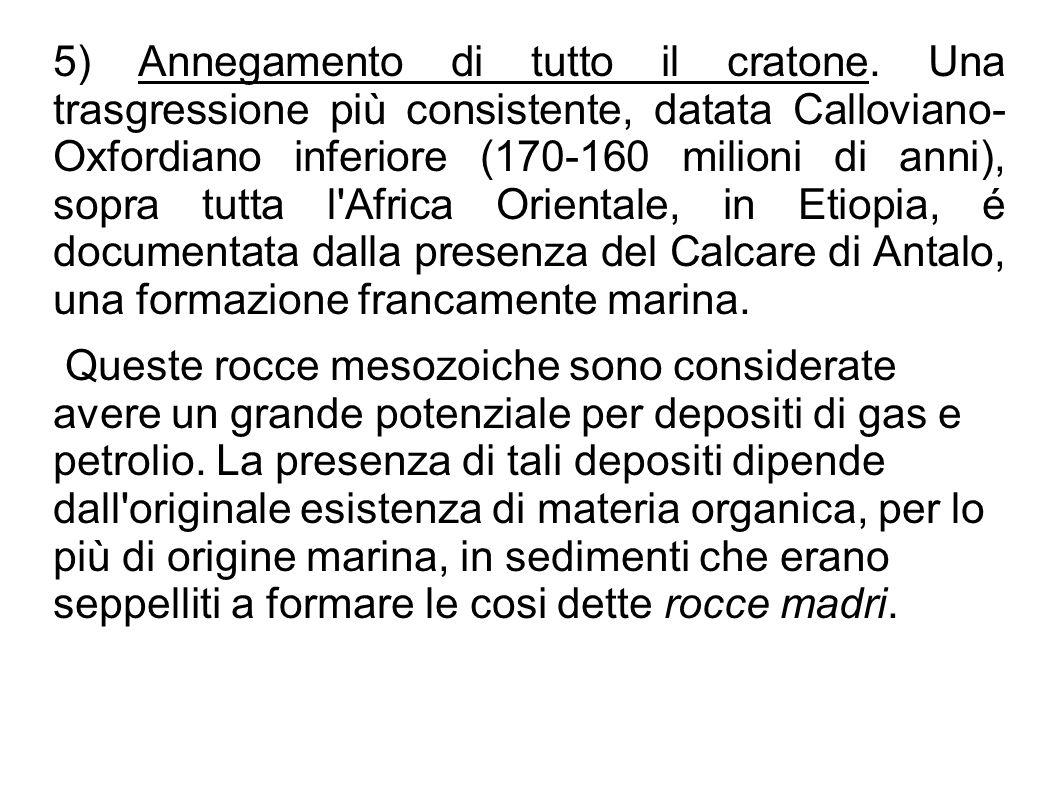5) Annegamento di tutto il cratone. Una trasgressione più consistente, datata Calloviano- Oxfordiano inferiore (170-160 milioni di anni), sopra tutta