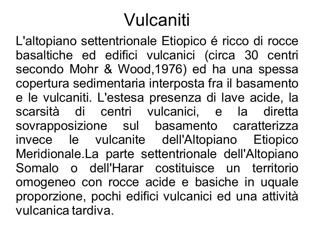 Vulcaniti L'altopiano settentrionale Etiopico é ricco di rocce basaltiche ed edifici vulcanici (circa 30 centri secondo Mohr & Wood,1976) ed ha una sp