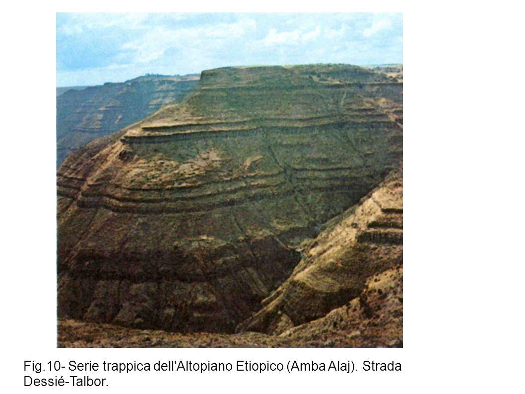 Fig.10- Serie trappica dell'Altopiano Etiopico (Amba Alaj). Strada Dessié-Talbor.