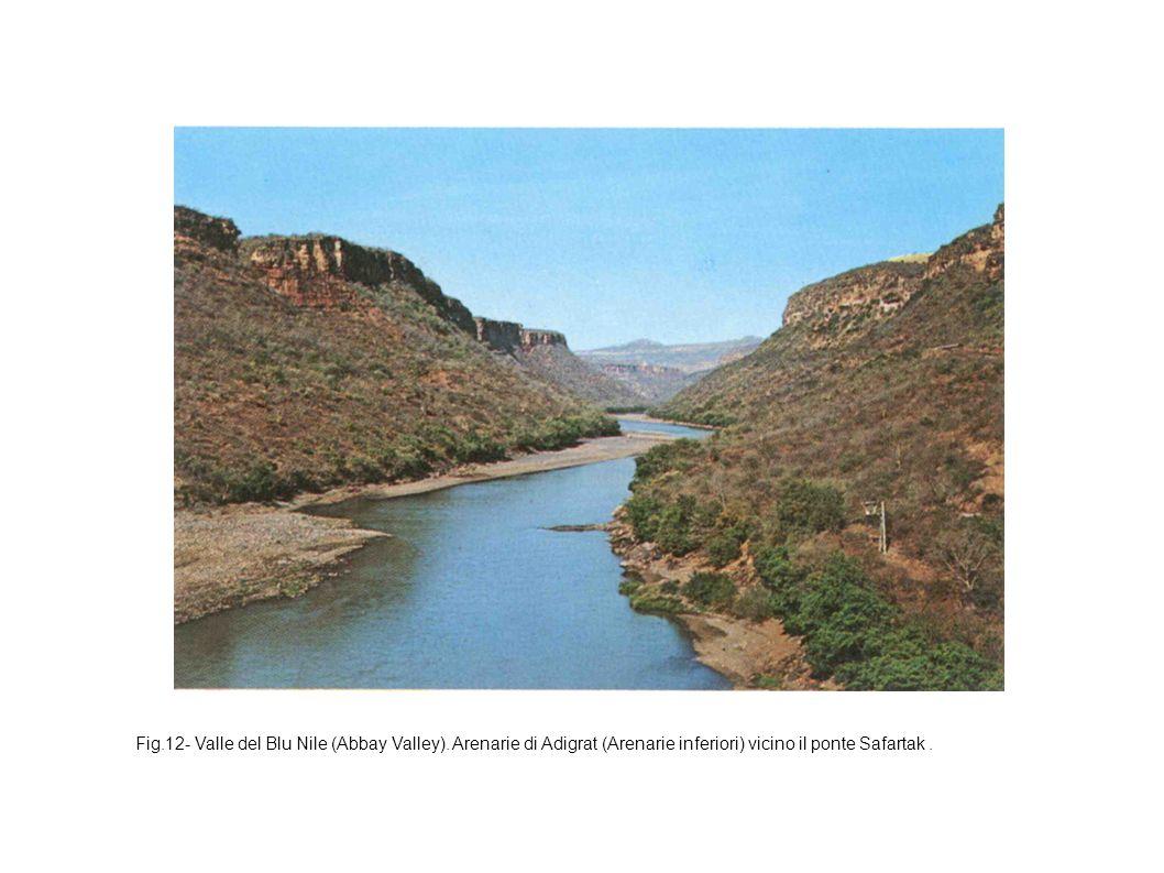 Fig.12- Valle del Blu Nile (Abbay Valley). Arenarie di Adigrat (Arenarie inferiori) vicino il ponte Safartak.