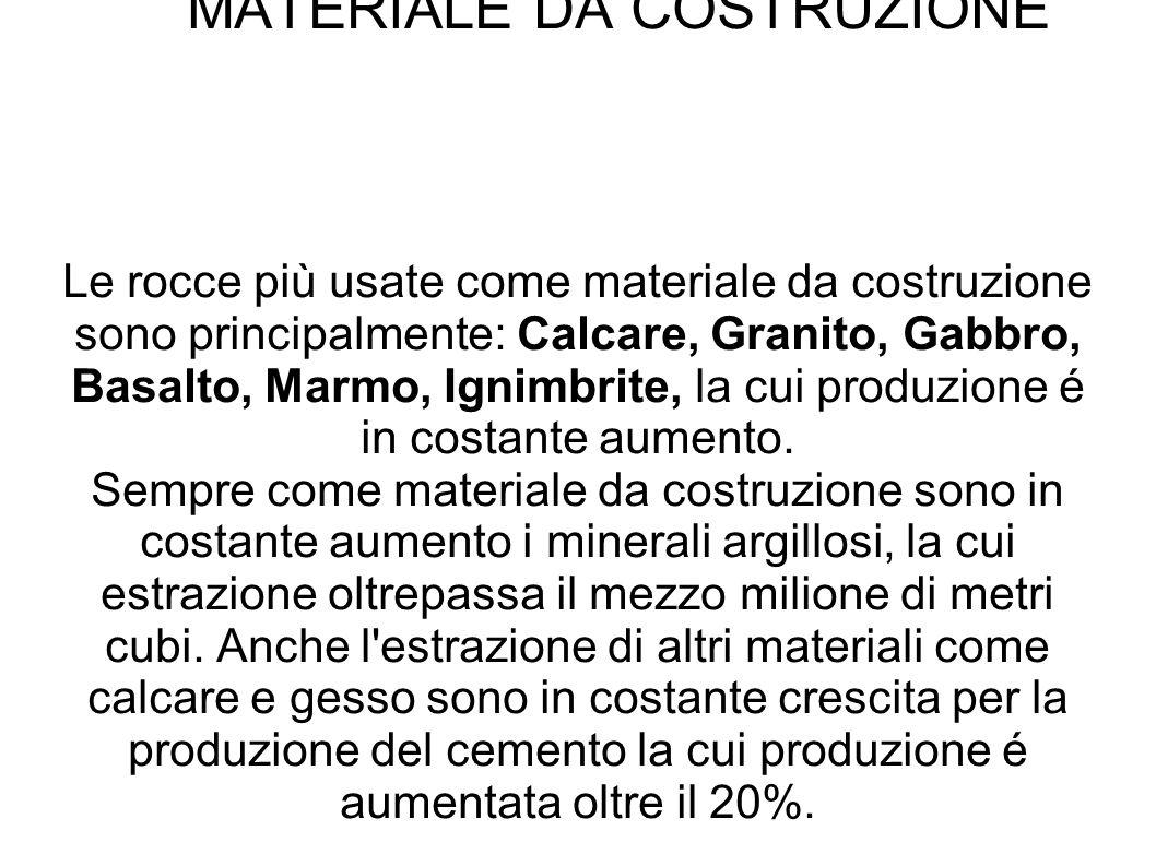 MATERIALE DA COSTRUZIONE Le rocce più usate come materiale da costruzione sono principalmente: Calcare, Granito, Gabbro, Basalto, Marmo, Ignimbrite, l