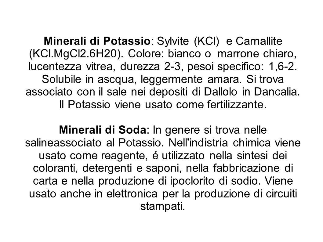 Minerali di Potassio: Sylvite (KCl) e Carnallite (KCl.MgCl2.6H20). Colore: bianco o marrone chiaro, lucentezza vitrea, durezza 2-3, pesoi specifico: 1