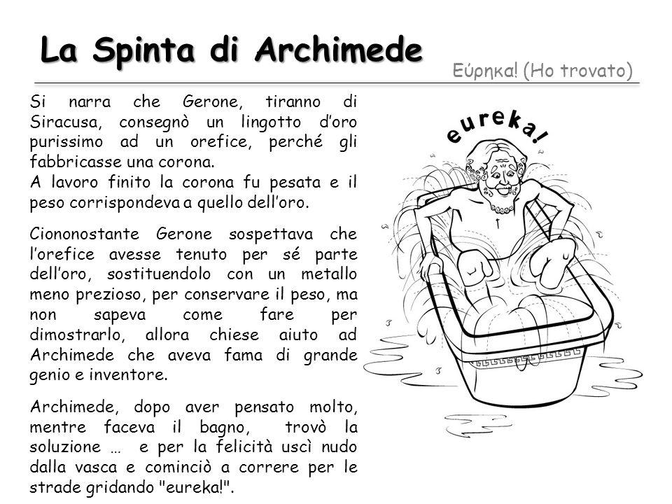 La Spinta di Archimede Εύρηκα! (Ho trovato) Si narra che Gerone, tiranno di Siracusa, consegnò un lingotto doro purissimo ad un orefice, perché gli fa