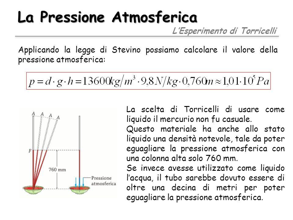 La Pressione Atmosferica LEsperimento di Torricelli La scelta di Torricelli di usare come liquido il mercurio non fu casuale. Questo materiale ha anch