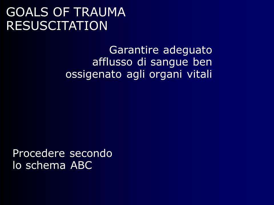 GOALS OF TRAUMA RESUSCITATION Garantire adeguato afflusso di sangue ben ossigenato agli organi vitali Procedere secondo lo schema ABC