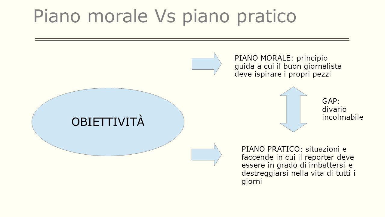 Piano morale Vs piano pratico OBIETTIVITÀ PIANO MORALE: principio guida a cui il buon giornalista deve ispirare i propri pezzi PIANO PRATICO: situazio