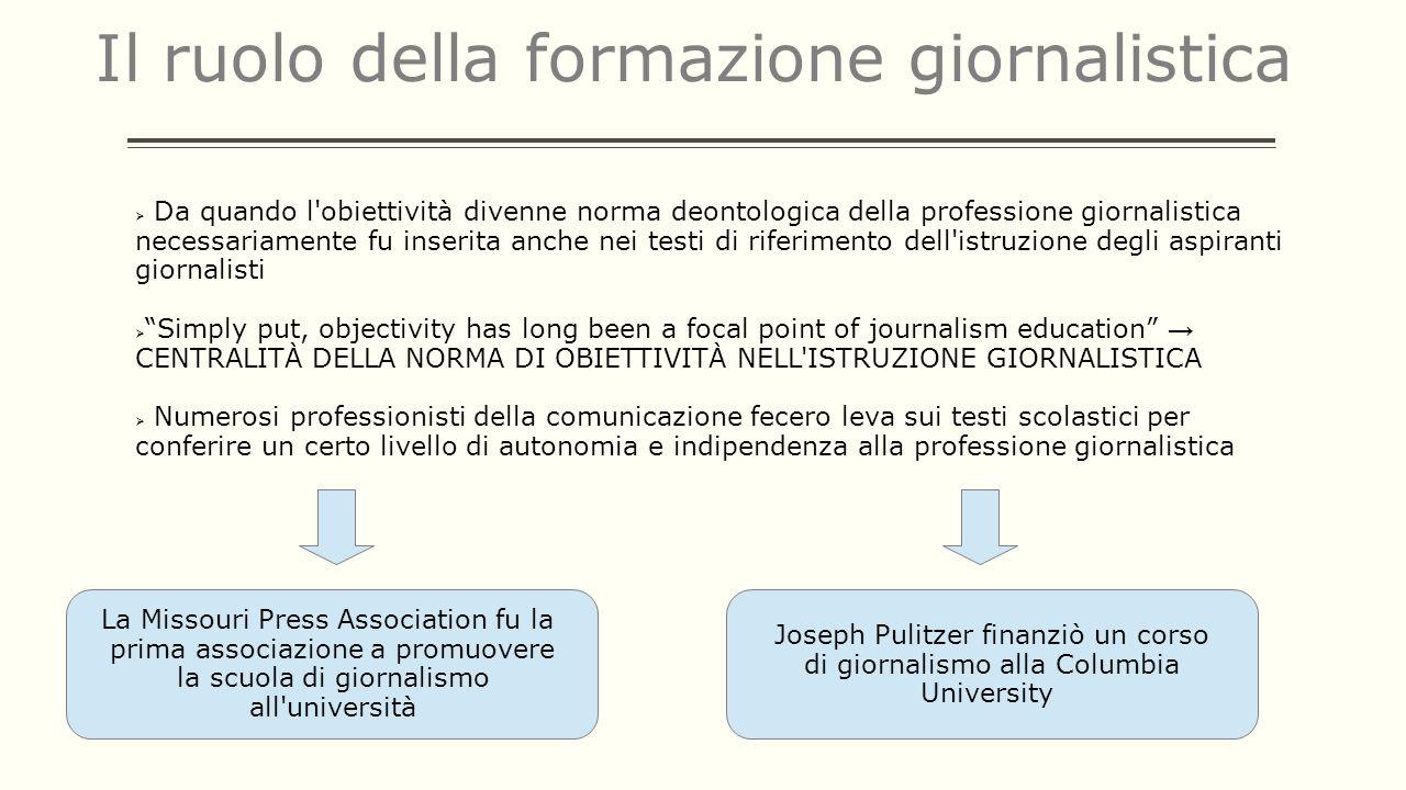Il ruolo della formazione giornalistica Da quando l'obiettività divenne norma deontologica della professione giornalistica necessariamente fu inserita