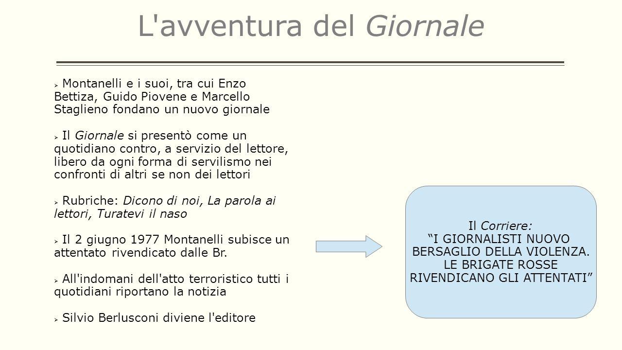 L'avventura del Giornale Montanelli e i suoi, tra cui Enzo Bettiza, Guido Piovene e Marcello Staglieno fondano un nuovo giornale Il Giornale si presen