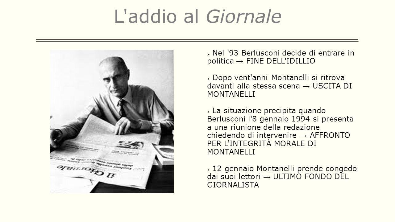 L'addio al Giornale Nel '93 Berlusconi decide di entrare in politica FINE DELL'IDILLIO Dopo vent'anni Montanelli si ritrova davanti alla stessa scena