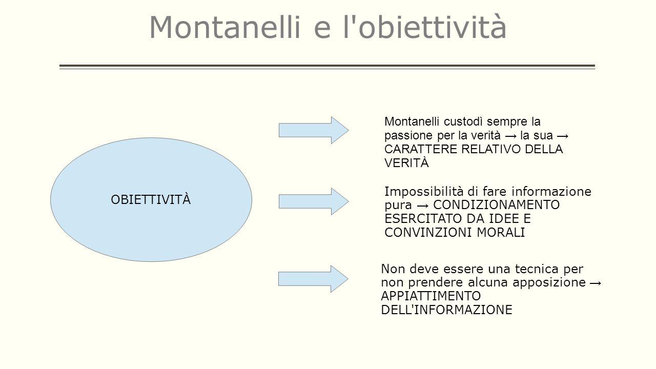 Montanelli e l'obiettività OBIETTIVITÀ Impossibilità di fare informazione pura CONDIZIONAMENTO ESERCITATO DA IDEE E CONVINZIONI MORALI Non deve essere