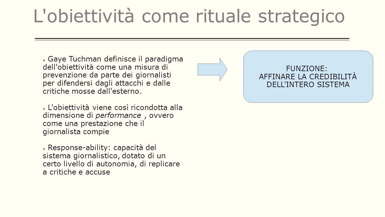 L'obiettività come rituale strategico Gaye Tuchman definisce il paradigma dell'obiettività come una misura di prevenzione da parte dei giornalisti per