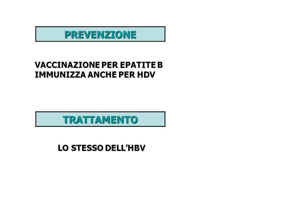 PREVENZIONE VACCINAZIONE PER EPATITE B IMMUNIZZA ANCHE PER HDV TRATTAMENTO LO STESSO DELLHBV