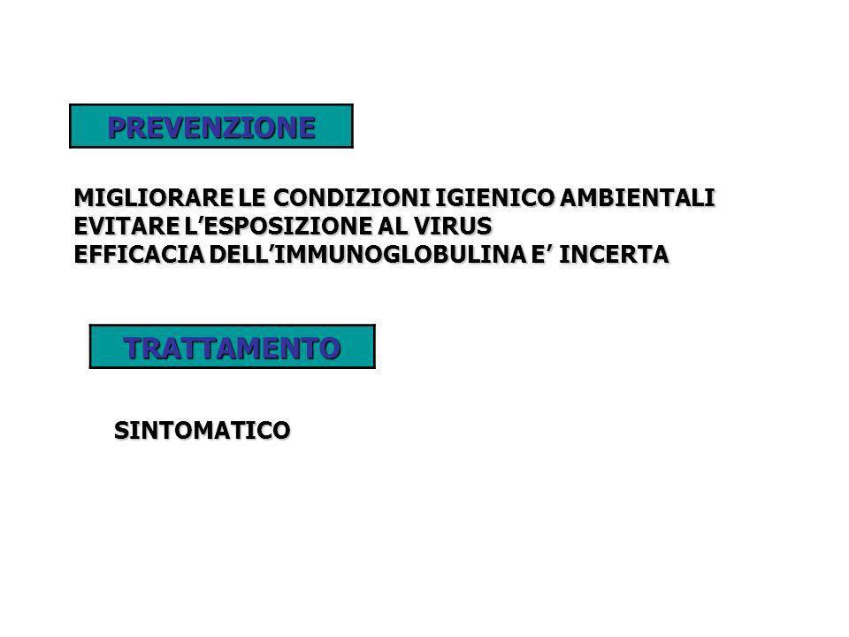 PREVENZIONE MIGLIORARE LE CONDIZIONI IGIENICO AMBIENTALI EVITARE LESPOSIZIONE AL VIRUS EFFICACIA DELLIMMUNOGLOBULINA E INCERTA TRATTAMENTOSINTOMATICO