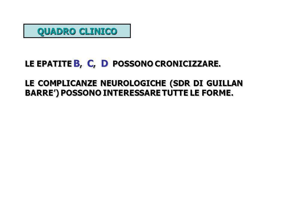 QUADRO CLINICO LE EPATITE B, C, D POSSONO CRONICIZZARE. LE COMPLICANZE NEUROLOGICHE (SDR DI GUILLAN BARRE) POSSONO INTERESSARE TUTTE LE FORME.